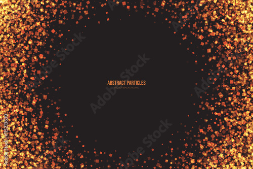Abstract Bright Golden Shimmer Glowing Square Particles Vector