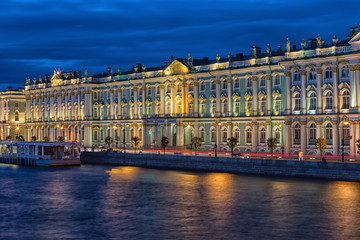 Winter Palace in Saint Petersburg in night , Russia