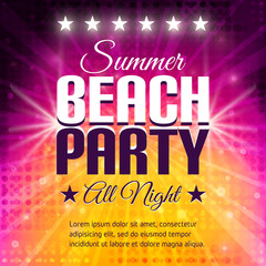 Summer Beach Party Flyer. Disco party background in pink and yellow colors. Place for text.
