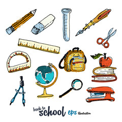 School accessories. Pictures collection