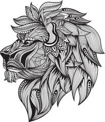 Zentangle,Lion, Head lion,zentangle stylized.lion head, Head lion black and white,zentangle stylized.lion head , Vector Hand Drawn sketch for tattoo design or makhenda.