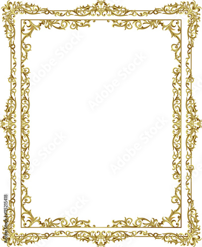 vintage frame border. Vintage Frame Border Line Floral Design Gold Color Elegant Design,