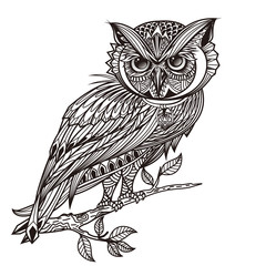 Zentangle stylized owl. Vector Hand Drawn sketch for tattoo design or makhenda. owl black and whtie, single owl black color, owl under tree