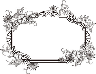 Hand drawn magic flowers frame for adult anti stress Coloring Page with high details isolated on white background, illustration in zentangle style. Vector monochrome sketch. Nature collection.