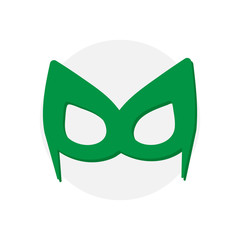 Super hero green mask. Superhero  for face character in flat style