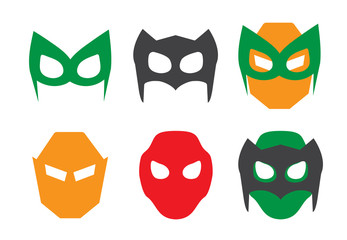 Super hero masks set. Superhero for face character in flat style