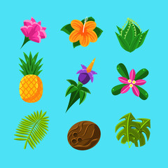 Tropical Plants And Fruits Set