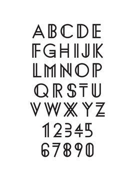Modern geometric font, typeface design, vector illustration EPS 10