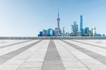 empty pavement and the bund skyline,copy space Wall mural