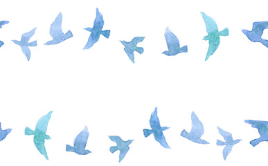 Cute seamless border with naive watercolor birds