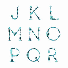 Technical Robot font. Letters from J to R