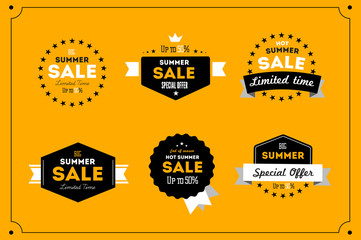 Hot summer sale banner. Vector discount banner template. Retro styled typography label. Vintage text sticker design.