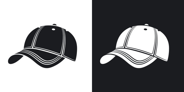 Vector baseball cap icon. Two-tone version on black and white background