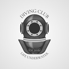 Diving and snorkeling vector logo, icon