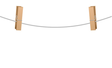 Two wooden clothespins clipped on a clothesline rope.
