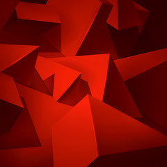 Geometric shapes red background, a lot of abstract objects, volume triangles and cubes, vector design wallpaper