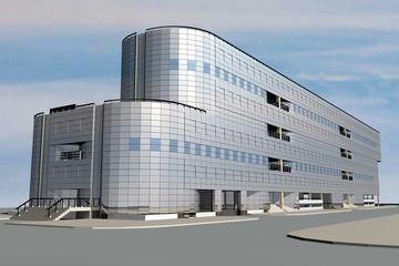 Модель голубого стеклянного офисного здания в современном стиле