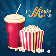 Movie time background with popcorn box and cola