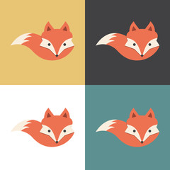 Red fox icon, vector illustration.