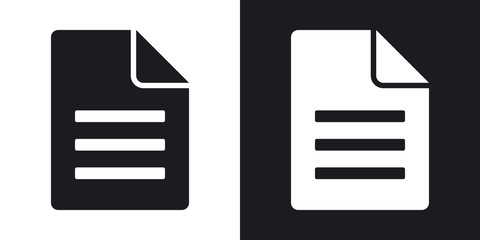 Document icon, vector.  Two-tone version on black and white background