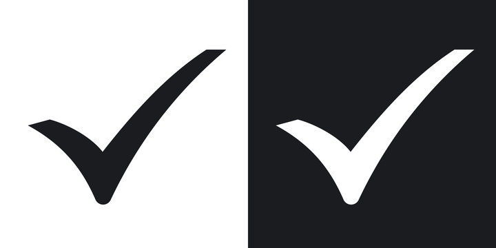 Check mark icon, vector.  Two-tone version on black and white background