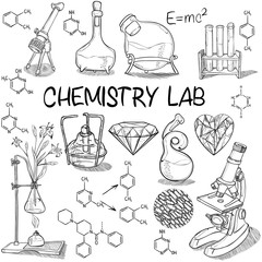 Chemistry lab sketch set