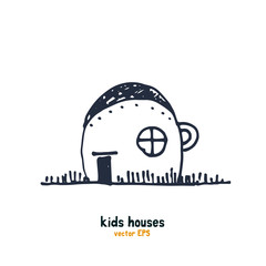Kids style houses illustration vector