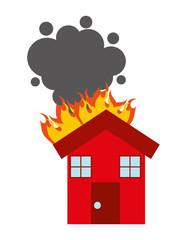 burning house isolated icon design