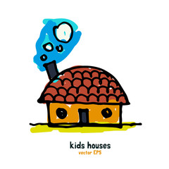 Kids style houses illustration vector