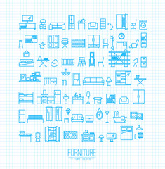 Furniture flat icons blue