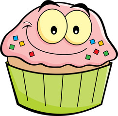 Cartoon illustration of a cupcake smiling.