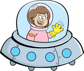 Cartoon illustration of a girl in a spaceship.