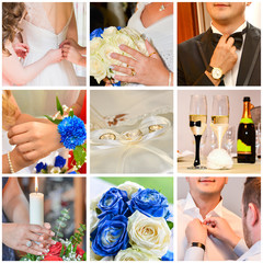 Beautiful wedding photo collage with the preparation of bride and groom