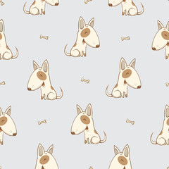 Seamless pattern with cute cartoon dogs breed  bullterrier on gray  background. Little puppies and bones. Children's illustration. Vector image. Funny animals.