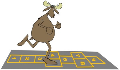 Bull moose playing hopscotch