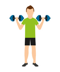 man lifting weights isolated icon design