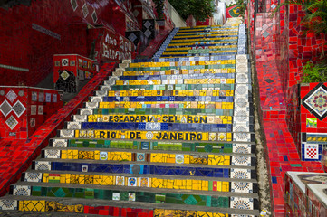 Colorful mosaic tiles at the Escadaria Selaron Steps in Rio de Janeiro, Brazil