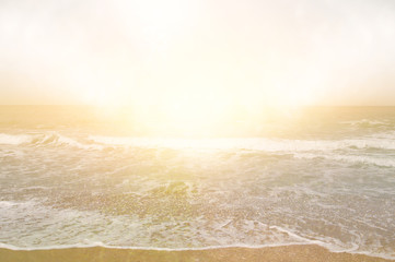 Abstract background of beach, gold sunset and sea waves