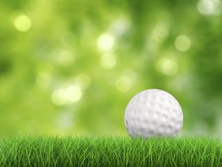 golf ball on green grass side view