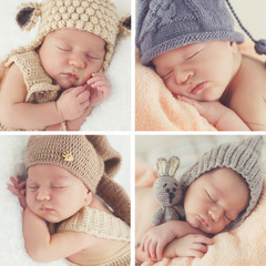 A collage of four photos-Sleeping newborn baby in a knitted hat:toddler on white blanket in beige knitted rompers and knitted cap,baby pink soft blanket in a gray cap with a bubo and a gray cap