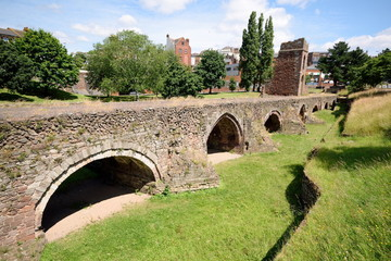 Remains of the medieval Exe Bridge and and St Edmunds Tower in Exeter, built around 1200