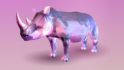 Low poly rhinoceros on pink background