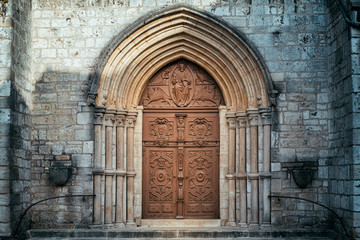 old door of basilica of St. John the Baptist, Chaumont