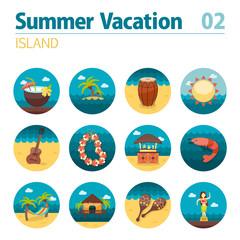 Island beach icon set. Summer. Vacation