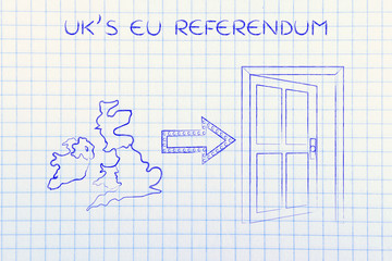 GB next to an exit door with arrow, UK's EU referendum