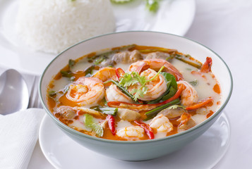 Thai Food, Tom Yam Goong, in white with steamed rice
