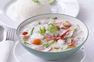 Thai Food, Tom Kha Gai, in white with steamed rice