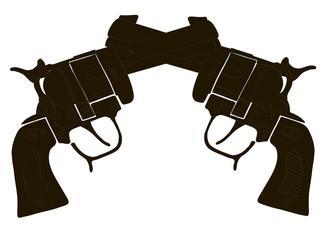 Black & White Crossed Gun Vectors
