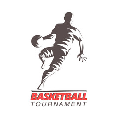Basketball player silhouette designe. Basketbal tournament vector illustration