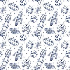 Comic cartoons UFO and robots. Seamless sketch.